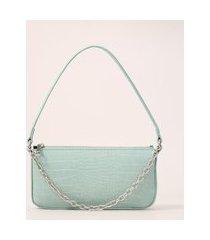 bolsa baguete pequena com corrente verde claro