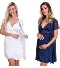 kit 2 camisolas amamentação com robe estilo sedutor 1 branco e 1 azul marinho - es206-207-v12