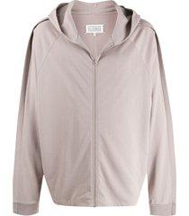 maison margiela oversized zip-up hoodie - neutrals