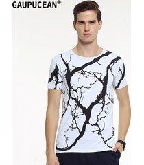 camiseta manga corta o-cuello gaupucean para hombre-blanco