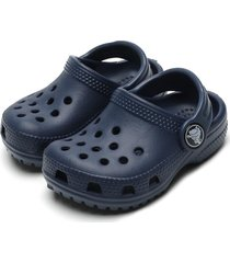 babuche crocs menino classic clog k azul-marinho