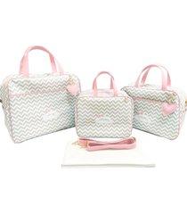 kit bolsa maternidade alinhado baby chevron cinza com rosa - 4 peã§as - rosa - menina - dafiti