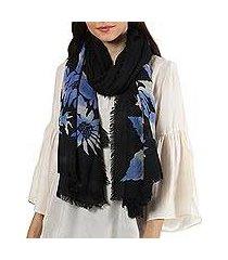 wool shawl, 'late night blossom' (india)