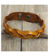 men's braided leather bracelet, 'honey rope' (thailand)