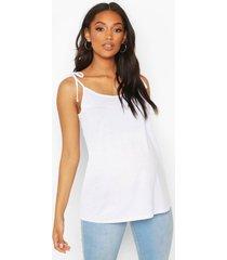 zwangerschaps borstvoeding hemdje met schouderstrikjes, white