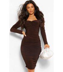 geplooide midi jurk met gewatteerde schouders, chocolade