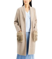 alfani petite faux-fur-pocket open-front cardigan, created for macy's