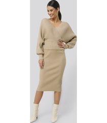 na-kd glittery ribbed knitted skirt - beige