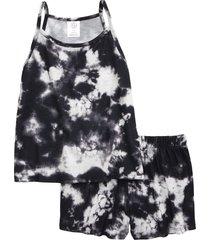 girl's treasure & bond kids' tie dye two-piece tank top & shorts pajamas, size xl - black