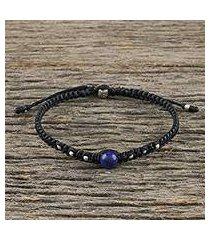 lapis lazuli beaded macrame bracelet, 'single bead' (thailand)