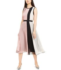 alfani colorblocked pleated sleeveless dress, created for macy's