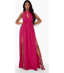 tall maxi jurk met open rug, fuchsia