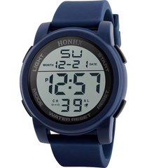 reloj hombres deportivo militar digital led hnx azul