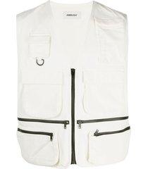 ambush multi-pocket zipped vest - white