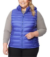 32 degrees plus size hooded packable water-resistant puffer vest, created for macy's