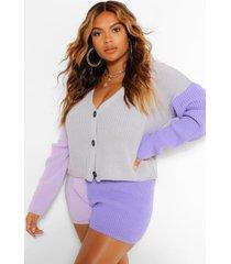 plus colour block set met shorts, grijs