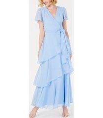 tahari asl tiered chiffon maxi gown