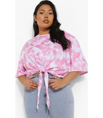 plus tie dye t-shirt met strik en rugopdruk, pink