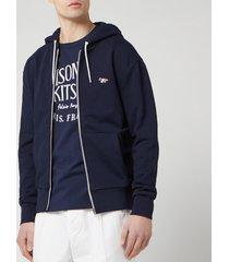 maison kitsune men's tricolor fox patch zip hoodie - navy - l