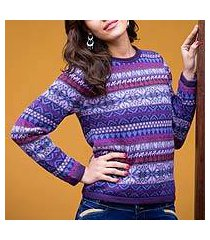 100% alpaca sweater, 'purple poppy' (peru)