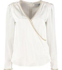 self-portrait asymmetric wraparound blouse