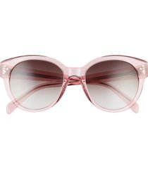 women's celine 54mm gradient round sunglasses - shiny pink/ cold brown