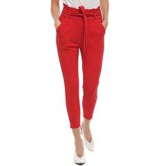 pantalón vero moda eva rojo - calce slim fit