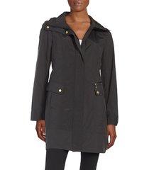 cole haan women's packable raincoat - black - size m