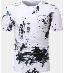 mens estate pittura cinese modello manica corta moda casual t-shirt