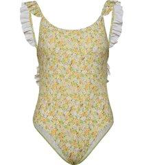 enswordfish swimsuit aop 5782 baddräkt badkläder gul envii