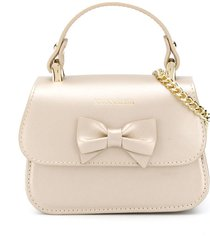 monnalisa bow detail chain link shoulder bag - gold