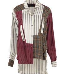 loewe crinkle check striped shirt