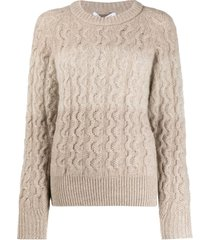 agnona cable knit pullover - neutrals