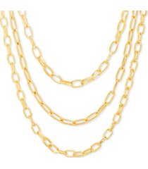 "steve madden gold-tone link chain layered necklace, 16"" + 3"" extender"
