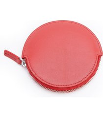 royce new york travel earbud leather carrying case - red