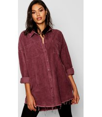raw edge oversized cord shirt, mauve