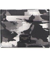 dolce & gabbana camouflage print card holder