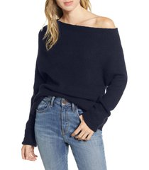 women's treasure & bond off the shoulder pullover, size large - blue