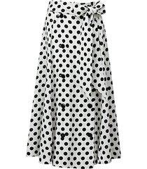 polka dot-print linen midi skirt
