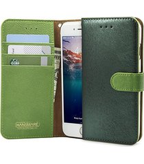 iphone 6s case, hansmare [calf flip][green] leather premium wallet case- fit by
