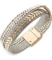 lonna & lilly two-tone leather multi-row flex bracelet