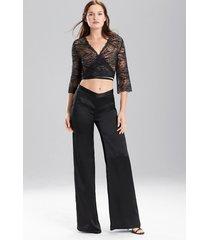 key wide leg pants pajamas / sleepwear / loungewear, women's, white, 100% silk, size l, josie natori