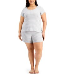 charter club plus size striped shorts pajamas set, created for macy's