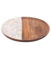 bandeja redonda em madeira mango natural 1 peça - marrom