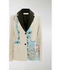 jw anderson mystic paisley patchwork tailored blazer with crystal embroidery