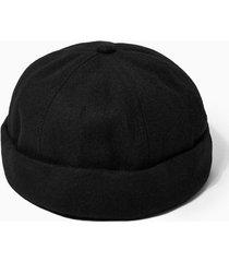 mens black melton docker hat