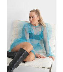 angelica blick x na-kd tulle flounce mini dress - blue