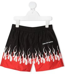 vision of super flame print shorts - black