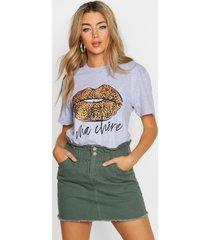luipaardprint t-shirt met lippen en franse tekst, grijs gemêleerd