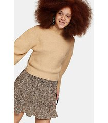 camel chevron crop knitted sweater - camel
